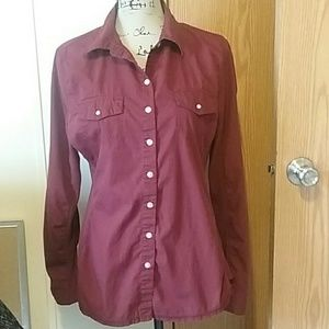 Large, Burgundy, Converse, Long Sleeve Blouse